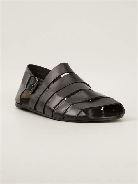 black sandals with ankle mars 232 ll ankle sandals in black for lyst