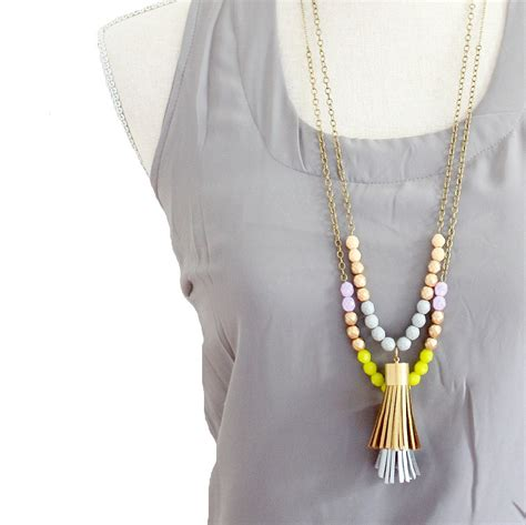 tassels for jewelry tassel necklace leather tassel necklace color block