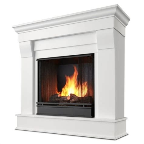 Ventless Gel Fireplace Reviews by Real Chateau Ventless Gel Fireplace In White Finish