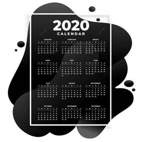 plantilla de calendario moderno  absract negro vector gratis