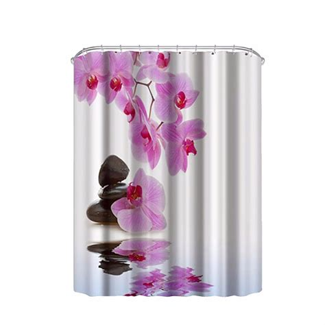 purple shower curtain hooks purple flower design bathroom ᐂ shower shower curtains