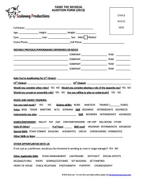 Fame The Musical Audition Form 2013 Fill Online Printable Fillable Blank Exclusivity Choreographer Contract Template