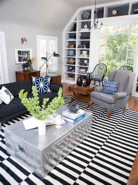 modern living room  black  white striped rug hgtv