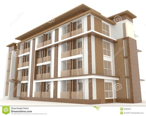 building exterior side of 3d wooden office building exterior isolate stock