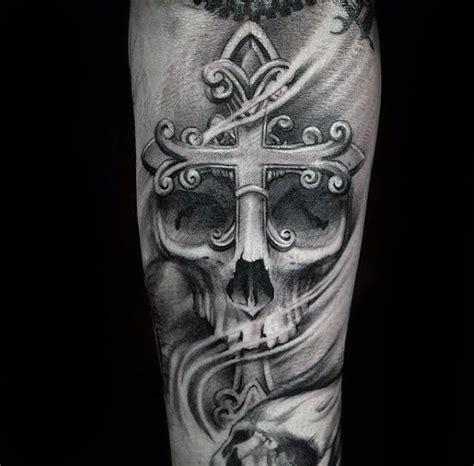 skull cross tattoos 50 badass cross tattoos for manly design ideas