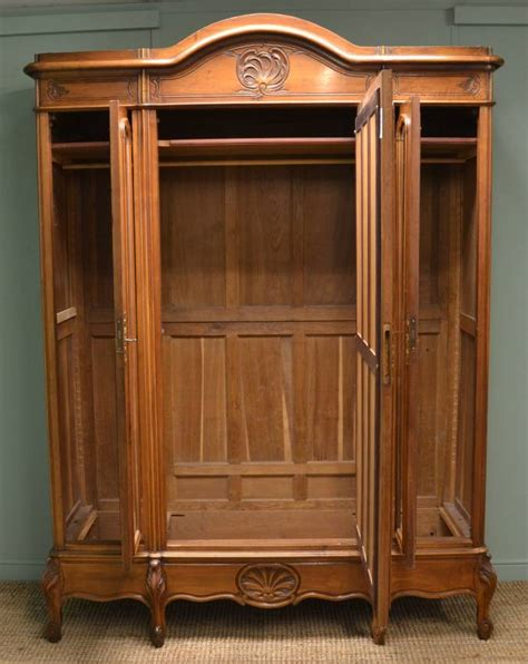 large decorative walnut antique wardrobe armoire