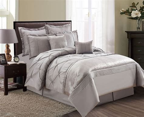 pinched comforter set 8 piece aubree pinched pleat taupe comforter set ebay