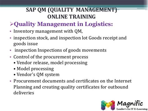 online tutorial for qc sap qm quality management online training