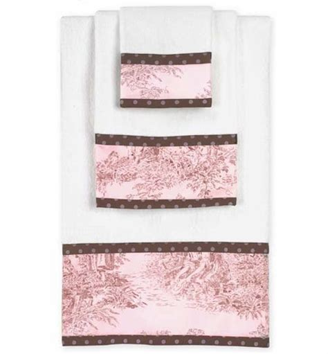 pink and brown bathroom pink and brown toile and polka dot baby and kids cotton bath towel set 3pc set only