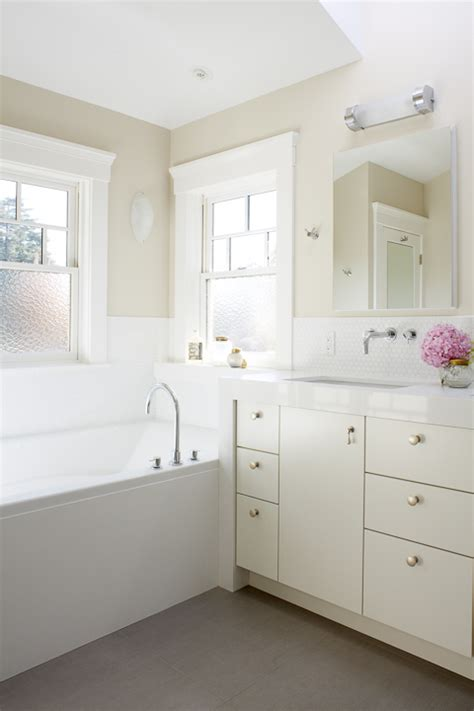 Cream lacquered bathroom vanity transitional bathroom