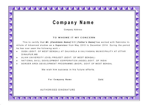 certification letter from the company best work experience certificate letter template with