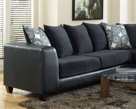 4502 Sectional Sofa In Blue Microfiber Bi Cast Blue Microfiber Sectional Sofa