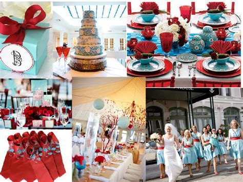 Turquoise blue and Red wedding : PANTONE WEDDING