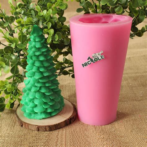 christmas tree silicone candle mold diy soap craft clay