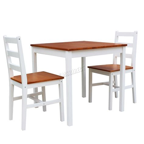 Solid Pine Kitchen Table Foxhunter Solid Pine Wood Dining Table With 2 Chairs Set Kitchen Furniture Honey Ebay