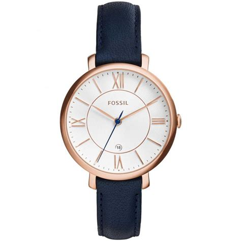 Fossil Es3843 Jacqueline Navy Leather fossil jacqueline navy blue leather watches from francis gaye jewellers uk