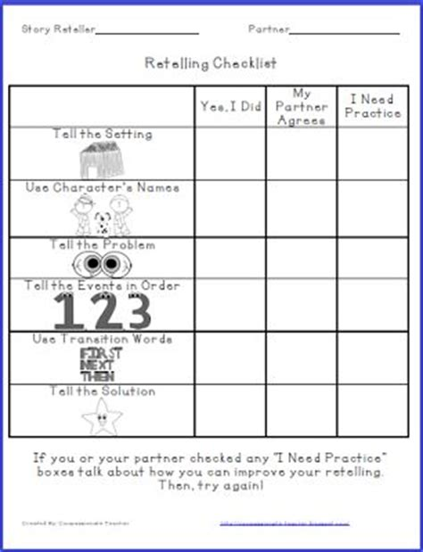 Retelling Mentor Texts And Texts On Pinterest Buddy Checklist Template