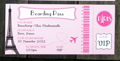 Birthday Party In Paris Invitations Printable Collection Boarding Pass Invitation Template Free