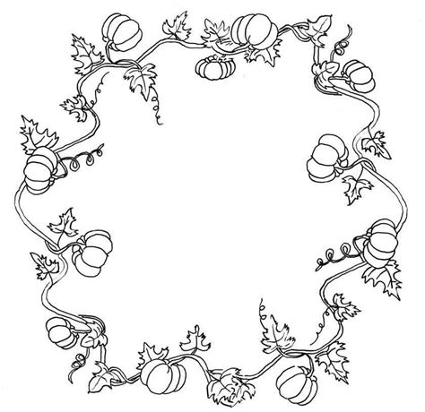 coloring pages of pumpkin vines fall wreath coloring pages kit just paint it blog