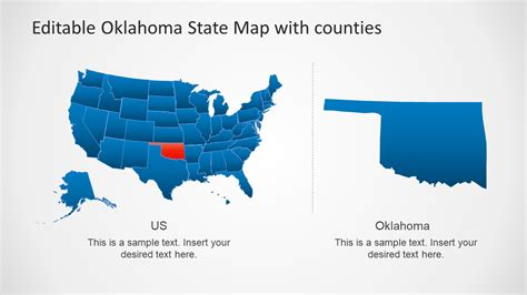 oklahoma state  counties powerpoint map slidemodel
