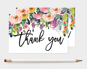3x5 thank you card template post card thank you etsy