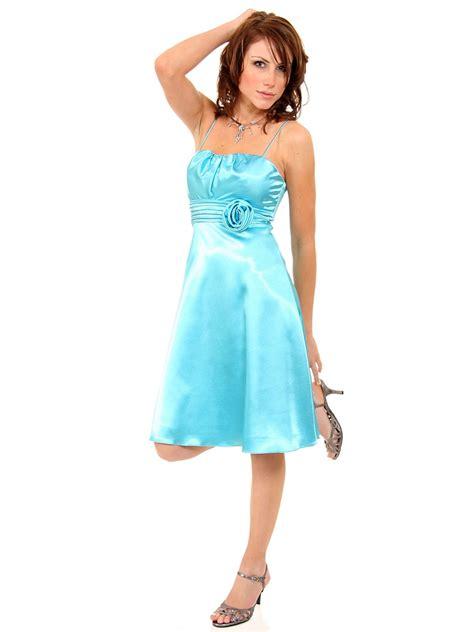 Glossy Dress glossy satin knee length bridesmaid dress with spaghetti
