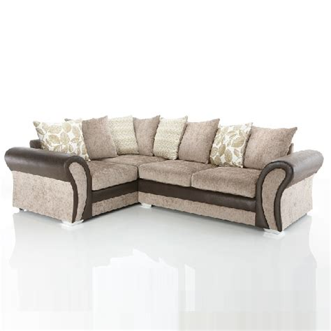 fabric and leather corner sofa revive corner sofa in brown faux leather and mink fabric