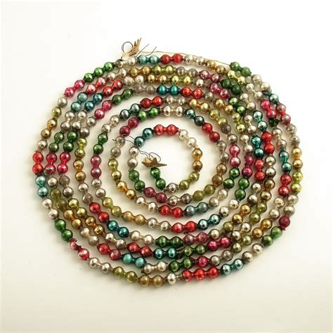 vintage glass bead christmas garland mult color double beads