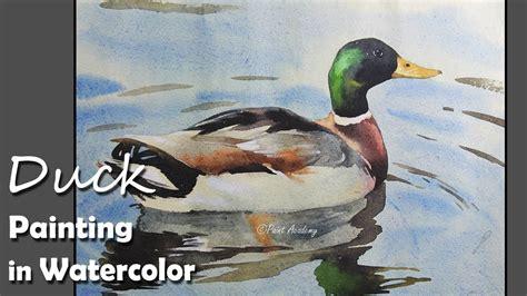 watercolor duck tutorial how to paint duck in water in watercolor youtube