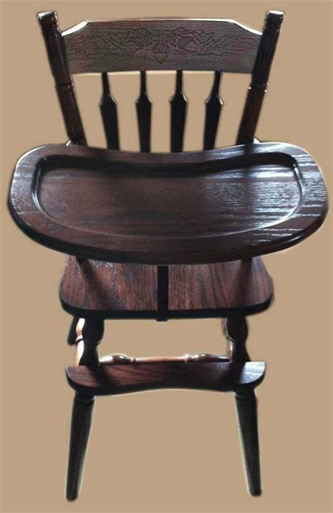 designer wooden high chair baby furniture wood high chair amish acorn design oak