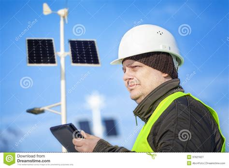 Lighting Engineer by Electrical Engineer With Tablet Pc Near Lighting