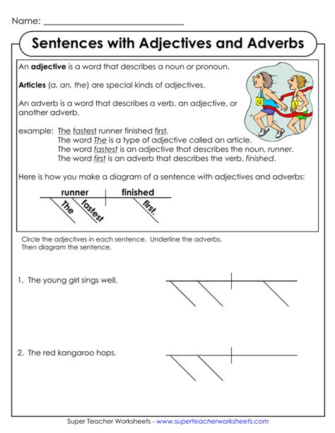 diagramming sentences worksheet collection of worksheets adjectives