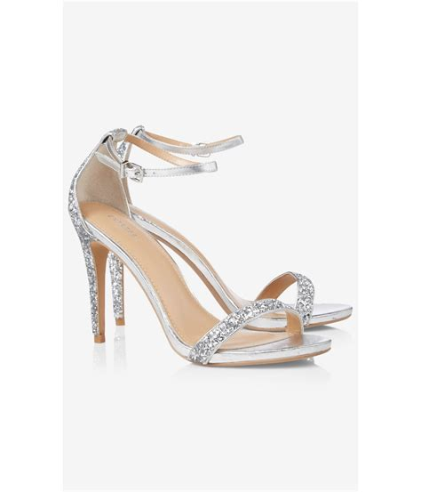 express sandals express silver glitter sleek heeled sandal in metallic lyst