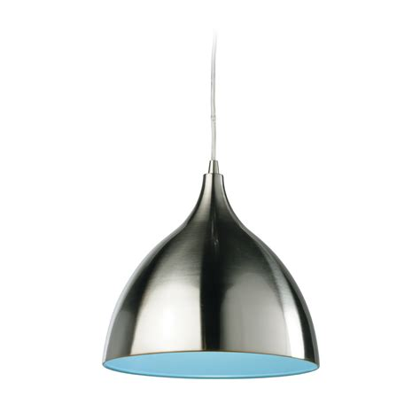 Steel Pendant Light Firstlight 5744bsbl 1 Light Brushed Steel Blue Cafe Pendant