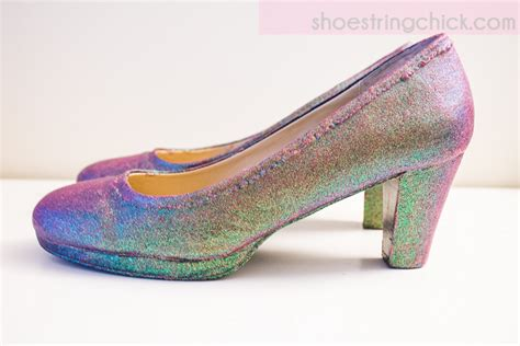 diy mod podge shoes diy iridescent shoes using mod podge glitter shoestring