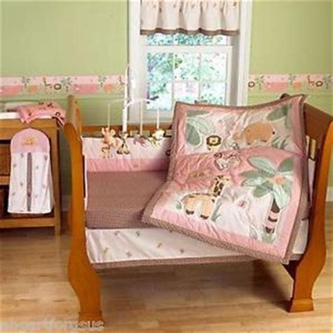 Pink Jungle Crib Bedding Step By Step 4 Pc New Pink Jungle Friends Crib Bedding Set Animals Safari