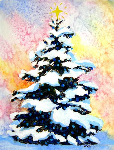 quot quot christmas tree quot watercolor painting of a snowy lit pine
