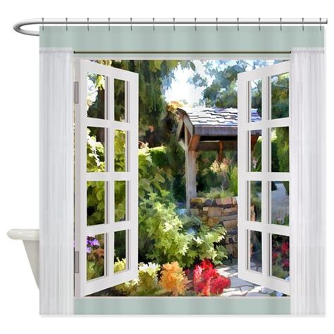 garden window curtains window view garden wishing well shower curtain by