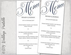 wedding menu template navy blue wedding menu diy wedding menu