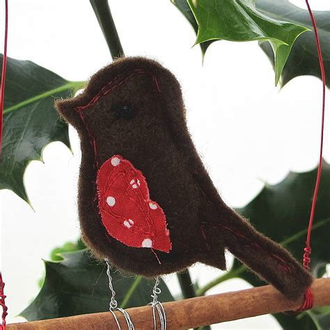 christmas robin hanging decoration by edamay