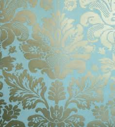 Teal Bathroom Accessories by Nina Campbell Campbell Damask Wallpaper
