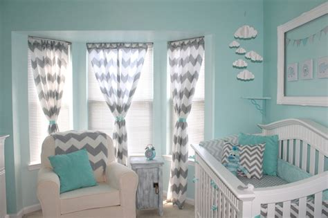 teal nursery curtains aqua and gray chevron nursery project nursery