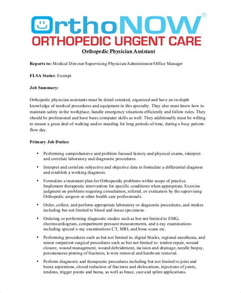 physician assistant description template physician assistant description template