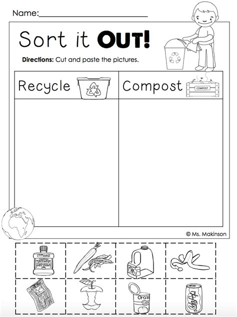 kindergarten activities recycling free earth day printables recycling and compost cut