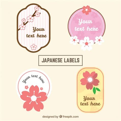 Etiketten Japan by Pack Of Four Japanese Labels Vector Free