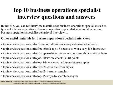 top 10 business operations specialist interview questions