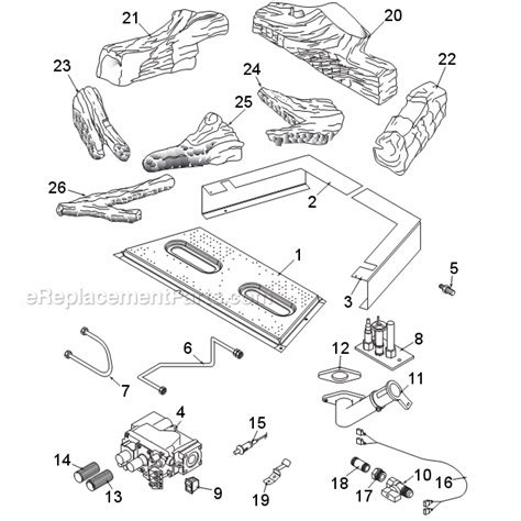 monessen gas fireplace parts monessen idv380 parts list and diagram idv series