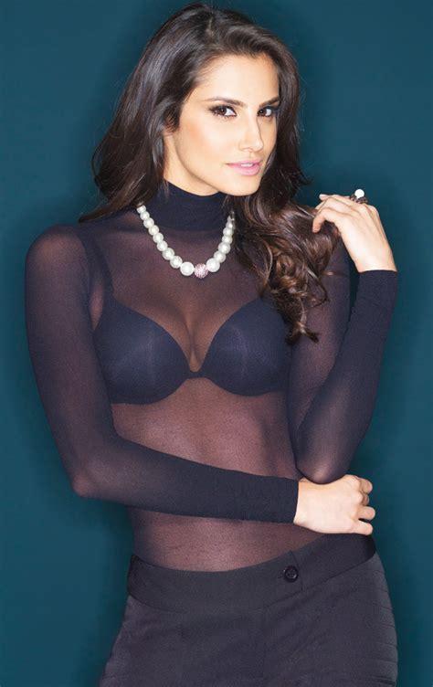 pantyhose tops sleeved see through shirt nylon white high neck fabric pantyhose