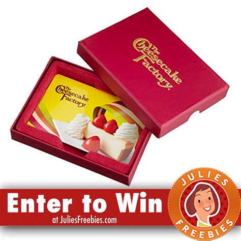 Cheesecake Factory Email Gift Card - win a 50 00 cheesecake factory gift card freebies list
