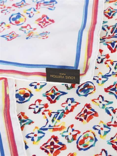 louis vuitton rainbow colorful monogram silk scarf